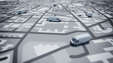 routes: Image of map of streets with trucks Stock Photo
