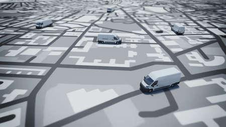 Obraz mapy ulic z ciężarówek