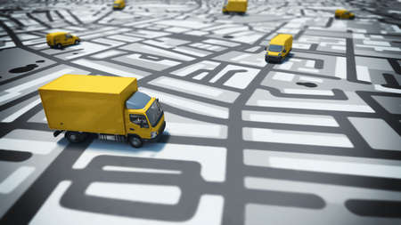 Image of map of streets with trucks Stockfoto
