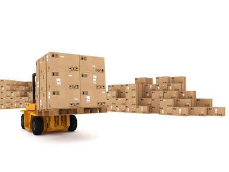 cardboard: Small crane loading stack of packed boxes Stock Photo