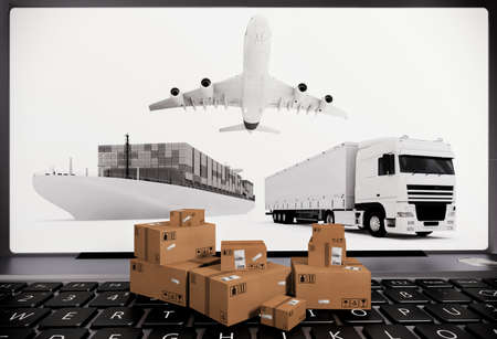 package sending: Laptop with boxes aircraft ship and truck