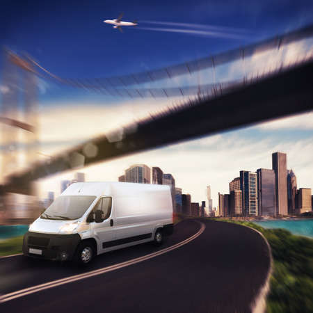 van: Truck on background with aircraft and bridge Stock Photo
