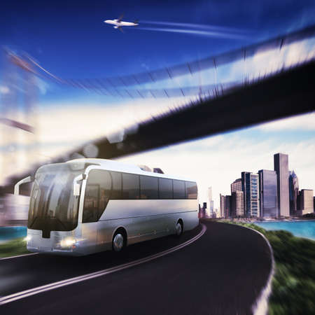 Bus on road with bridge and aircraft Banque d'images