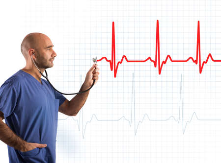 heartbeat: Nurse supports a stethoscope on a graph