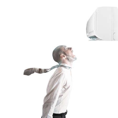 Empresario congelado por el poder de aire acondicionado Foto de archivo - 52913755