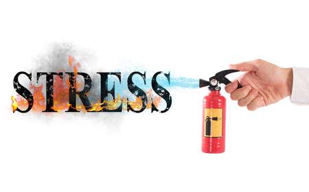 Brandblusser met water het woord spanning Stockfoto