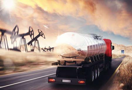 Carro con el depósito de aceite de conducción sobre asfalto