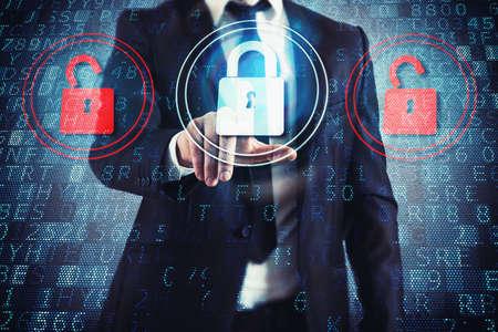 data: Businessman select closed padlock between two open Stock Photo