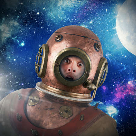 astral travel: Astronaut with vintage suit on sky background