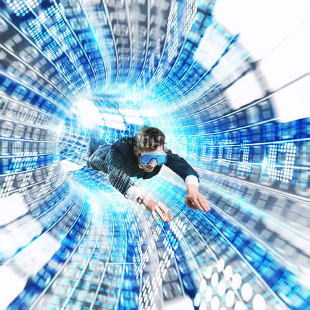 futuristic man: Man with mask in a futuristic tunnel
