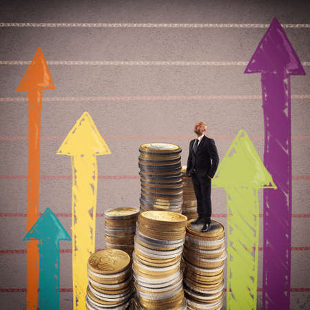 ingresos: El hombre en una pila de monedas mira hacia arriba Foto de archivo