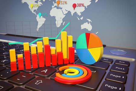 Grafiken und Statistiken auf einer Computertastatur Lizenzfreie Bilder