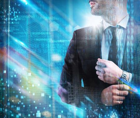 futuristic man: Man with clock with futuristic blue background