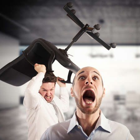 office force: Man throws chair to a man screaming