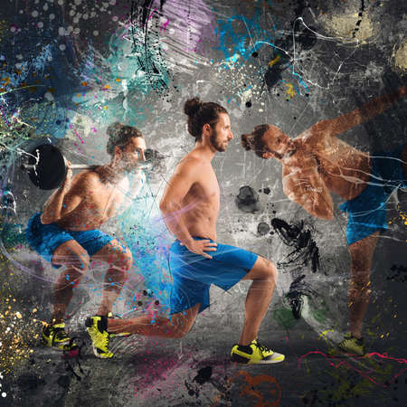 forceful: Man in fitness postures with colored background Stock Photo