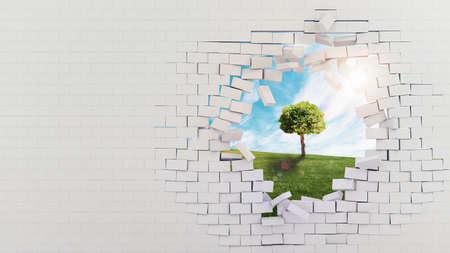 pared rota: muro roto con vistas a un prado con el árbol Foto de archivo