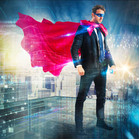 invincible: Man with mask and cloak over skyscraper Stock Photo