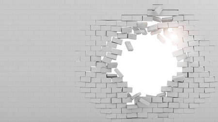 Background of a brick wall broken through