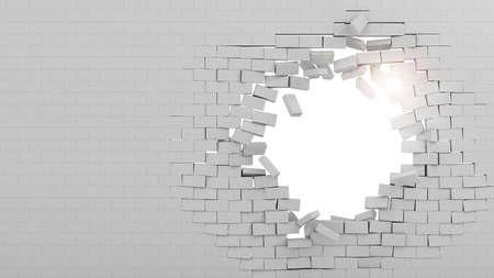 Achtergrond van een bakstenen muur doorgebroken Stockfoto