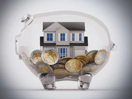 clearness: House and money in a piggybank transparent Stock Photo