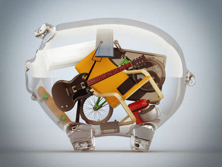 clearness: Objects in a big transparent piggy bank Stock Photo