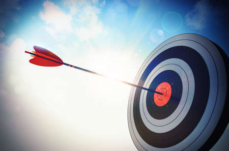 beat the competition: Target hit in the middle by arrow