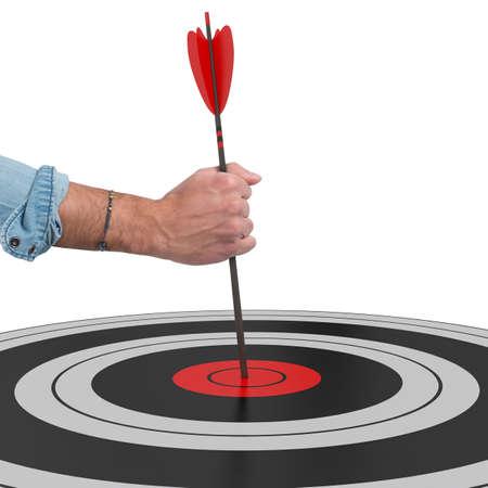 Put an arrow in the target center Фото со стока