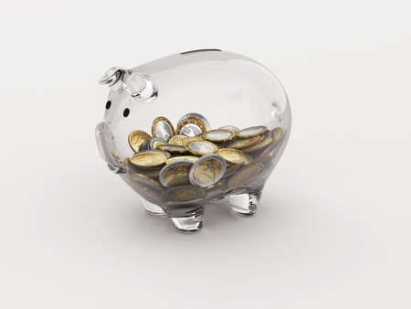 clearness: Euro money in a piggy bank transparent