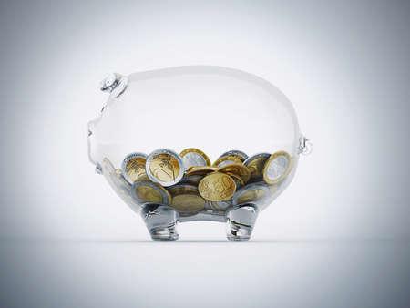 Euro geld in een spaarpot transparante Stockfoto