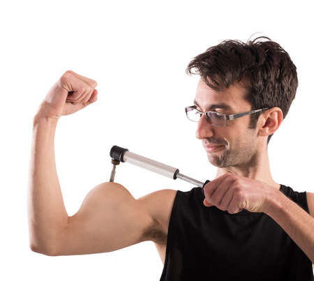 desired: Man inflates his muscles with a pump