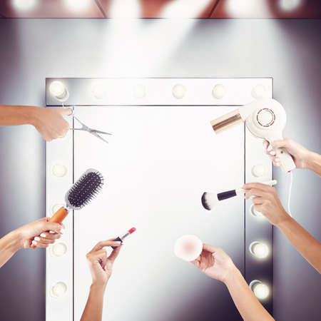 to mirror: Mirror and equipment to make-up and hairstyling Stock Photo