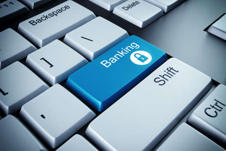 Blue keyboard button with the word banking Stock Photo