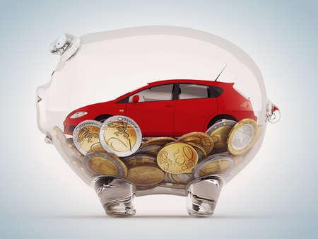 Transparante spaarpot met munten en rode auto