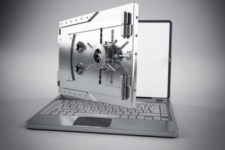 Ordenador portátil 3d con la pantalla como una caja fuerte Foto de archivo