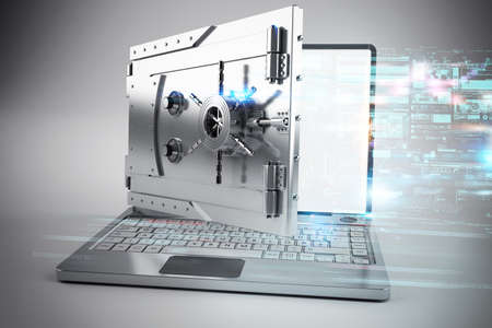 3d Laptop with the screen as a safe