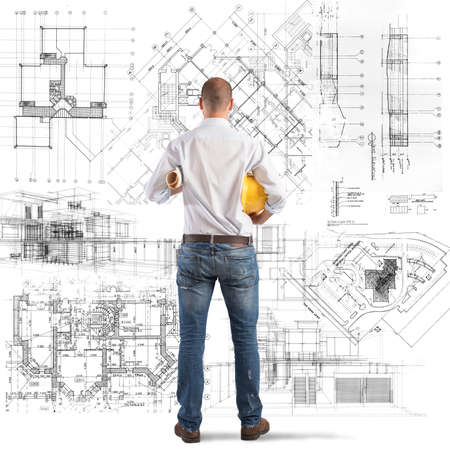 planning strategy: Architect looks at projects of a building