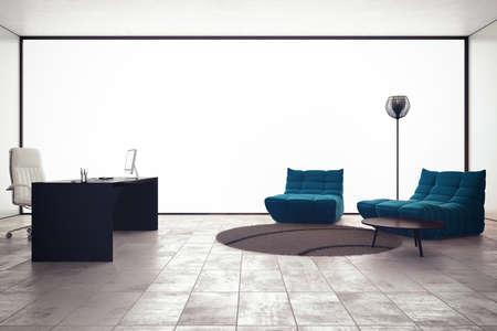 ejecutivo en oficina: oficina ejecutiva de lujo con sillones de escritorio de la PC