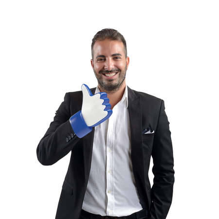 praise hands: Hand of smiling man with thumbs up