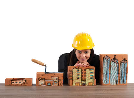 Construction growth of brick of residential properties Stock Photo