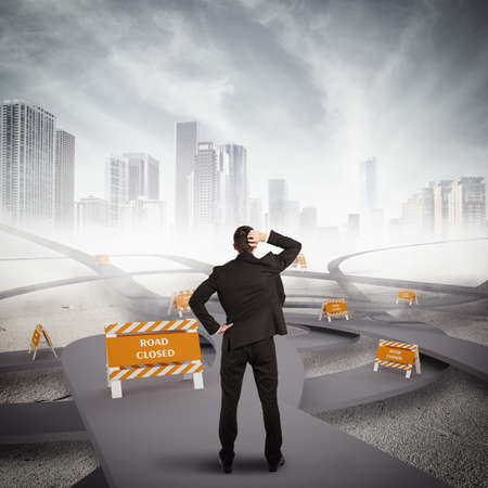 tangled roads: Tangle of roads with road closure alerts Stock Photo
