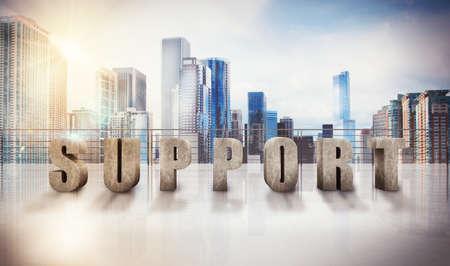 3D Written support on a terrace of skyscraper