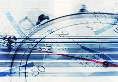 puntualidad: Antecedentes de cronómetro con hojas de calendario Foto de archivo