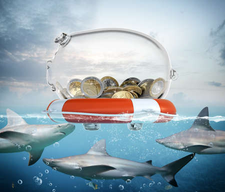 lifebelt: Lifebelt with piggybank and big sharks underwater Stock Photo