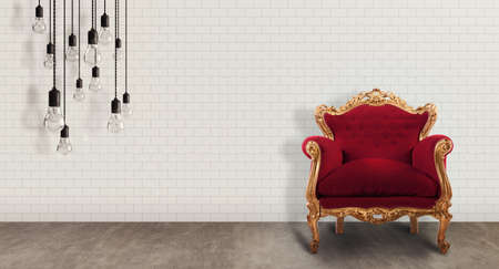 baroque room: Room with red baroque armchair and bulbs Stock Photo
