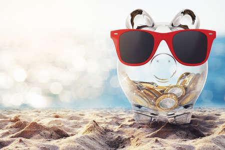 Piggybank z czerwonymi okularami przeciwsłonecznymi na plaży. Grafika trójwymiarowa