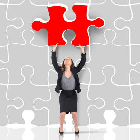 enters: Woman enters a red missing puzzle piece