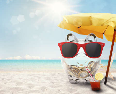 savings: 3D rendering of piggybank with red sunglasses Stock Photo
