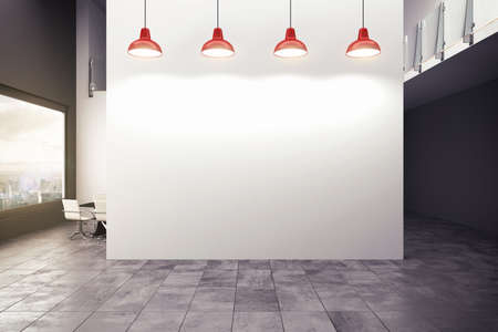 boardroom: 3D rendering of an office with lamps