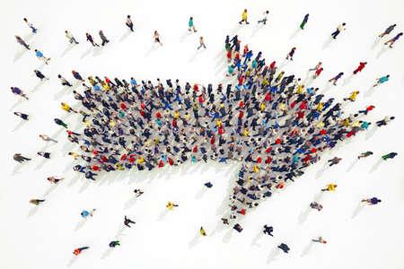 Representación 3D de la gente se forma una flecha Foto de archivo - 55645227