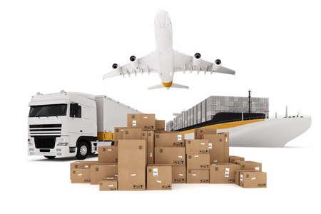 carga: Las cajas de cartón se apilan con la nave de aviones y camiones